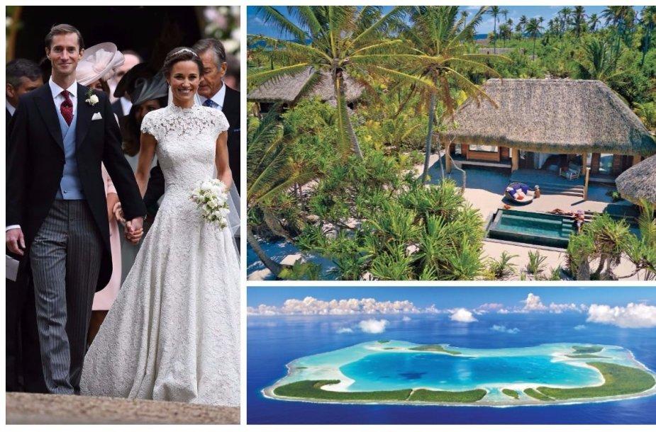 Tetiaroa sala, kur medaus mėnesį leidžia Pippa Middleton ir Jamesas Matthewsas
