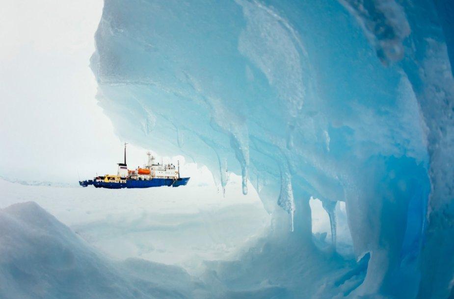 """Ledynuose prie Antarktidos įstrigęs laivas """"MV Akademik Šokalskij""""."""