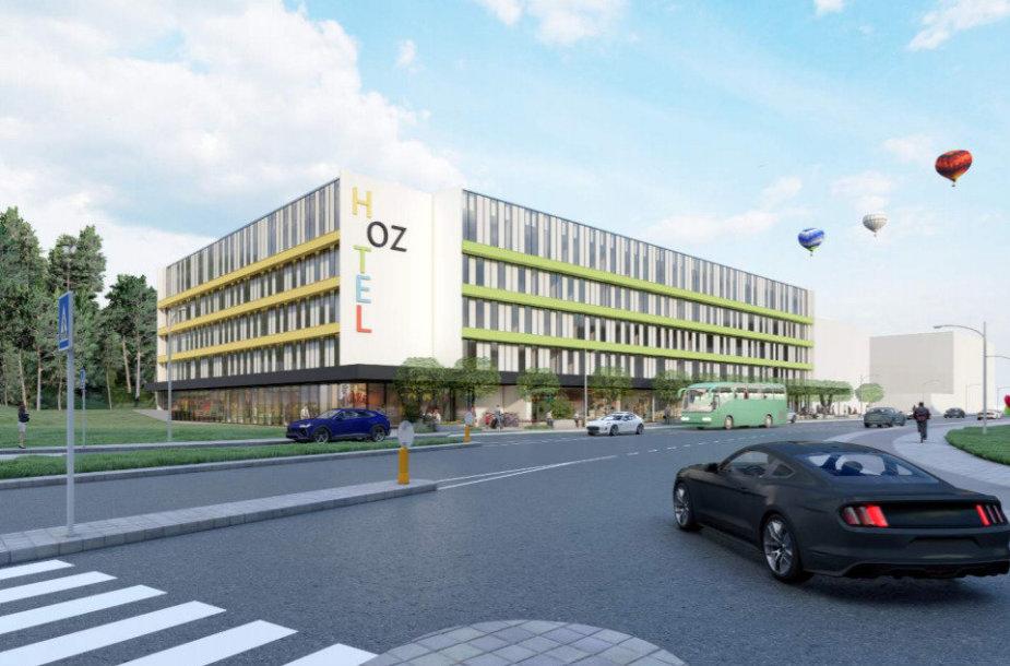 """Prie sostinės prekybos centro """"Ozas"""" projektuojamas pastatas"""