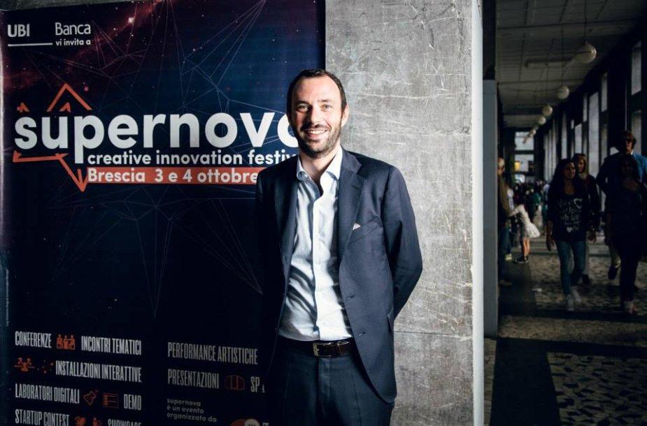 """Kūrybinių inovacijų festivalio """"SUPERNOVA"""" sumanytojas Lorenzo Maternini."""