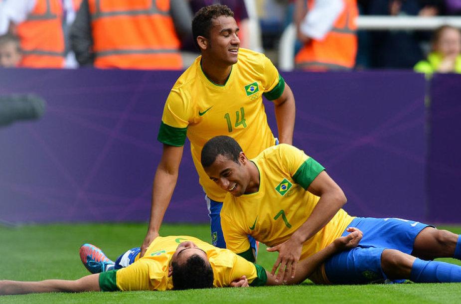 Favoritai Brazilijos futbolininkai vieninteliai olimpiadoje laimėjo visus tris žaistus mačus.