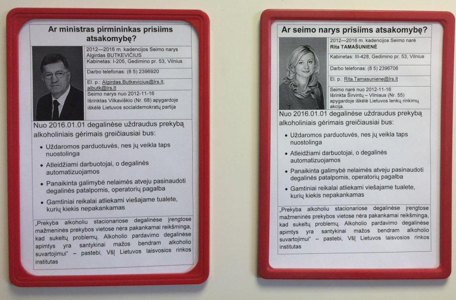 Degalinėje kabančios A.Butkevičiaus ir R.Tamašunienės anketos