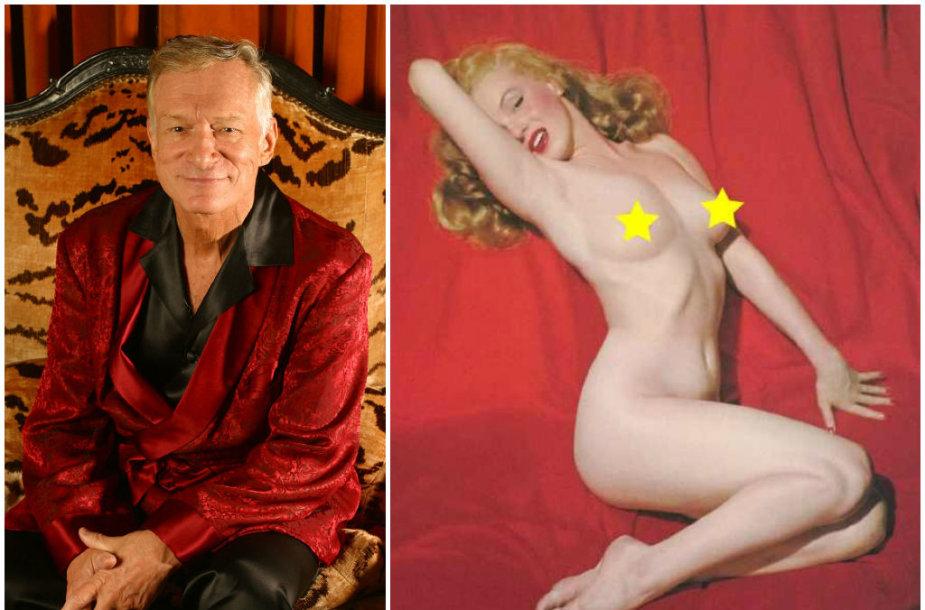 """Hugh Hefneris ir nuogos Marilyn Monroe nuotrauka, pasirodžiusi pirmajame """"Playboy"""" numeryje"""