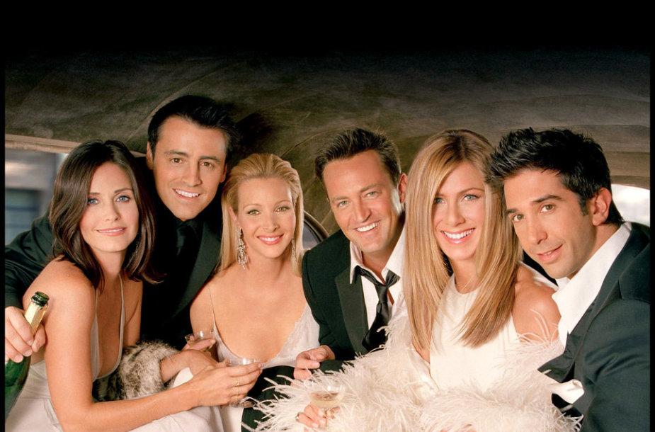 """Serialo """"Draugai"""" aktoriai: Mattas LeBlancas, Courteney Cox, Matthew Perry, Davidas Schwimmeris, Lisa Kudrow ir Jennifer Aniston"""