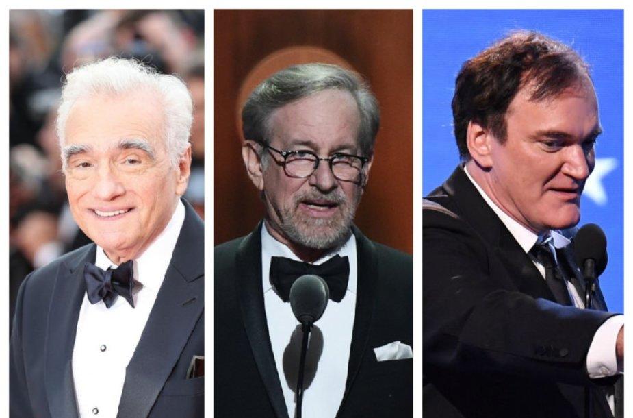 Martinas Scorcese, Stevenas Spielbergas, Quentinas Tarantino