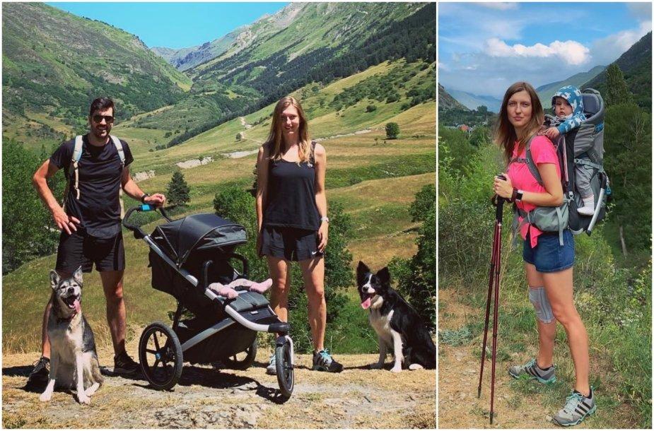 Albertas ir Mingailė su sūneliu ir šunimis keliauja po kalnus
