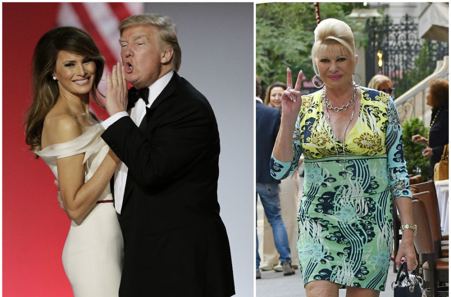 Donaldas Trumpas su žmona Melania ir buvusi jo žmona Ivana