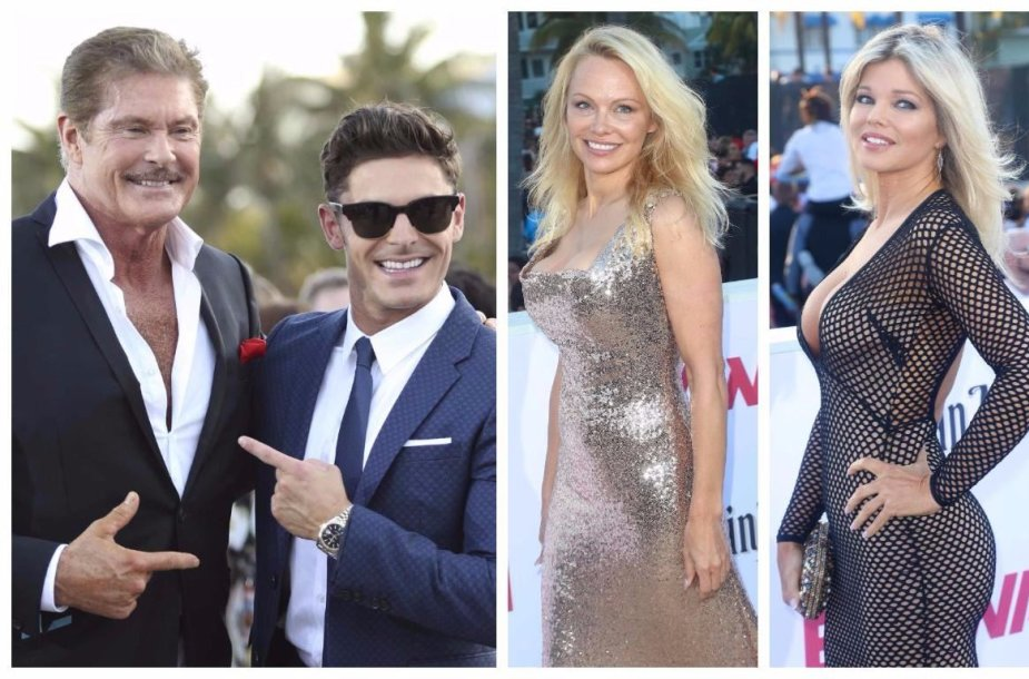 Davidas Hasselhoffas ir Zacas Efronas, Pamela Anderson bei Donna D'Errico