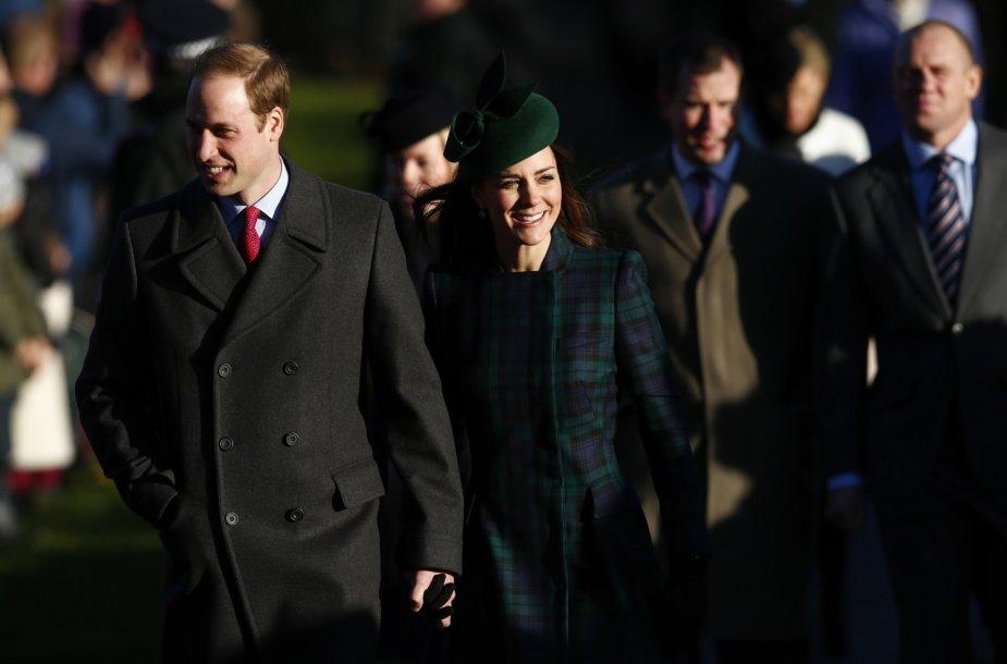 Princas Williamas ir Kembridžo hercogienė Catherine Kalėdų rytą Sandringame