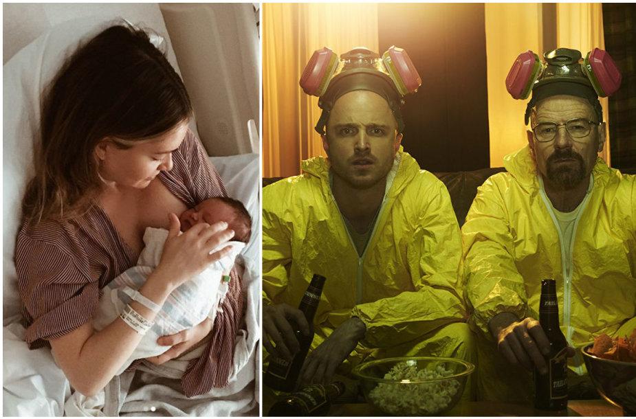 """Lauren Parsekian su dukra ant rankų bei Aaronas Paulas ir Bryanas Cranstonas seriale """"Bręstantis blogis"""" (2008 m.)"""
