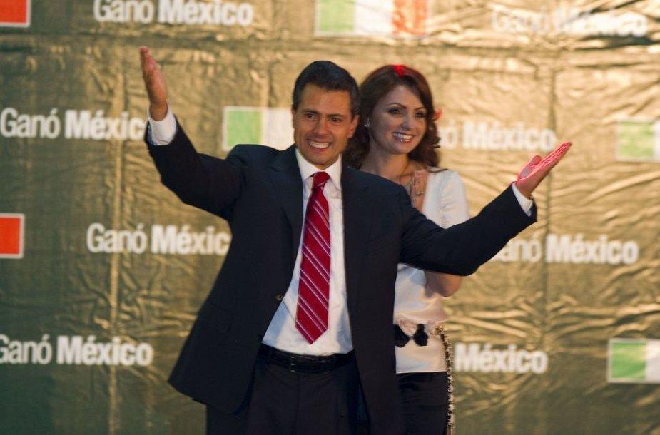 Angelica Rivera ir Enrique Pena Nieto