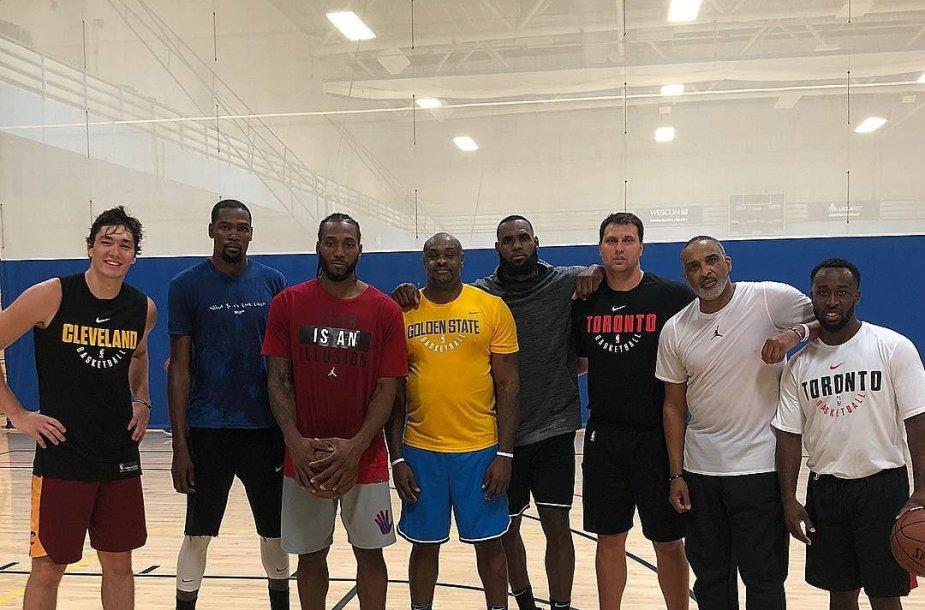 LeBronas Jamesas, Kevinas Durantas ir Kawhi Leonardas treniravosi kartu