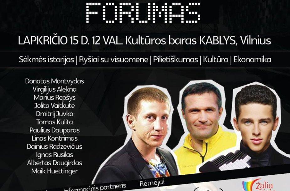 """Konferencijos jauniems žmonėms """"Jaunųjų lyderių forumas"""" plakatas"""