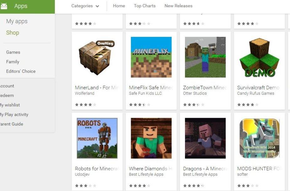 """Apgaulingų """"Minecraft"""" programėlių - daugybė"""