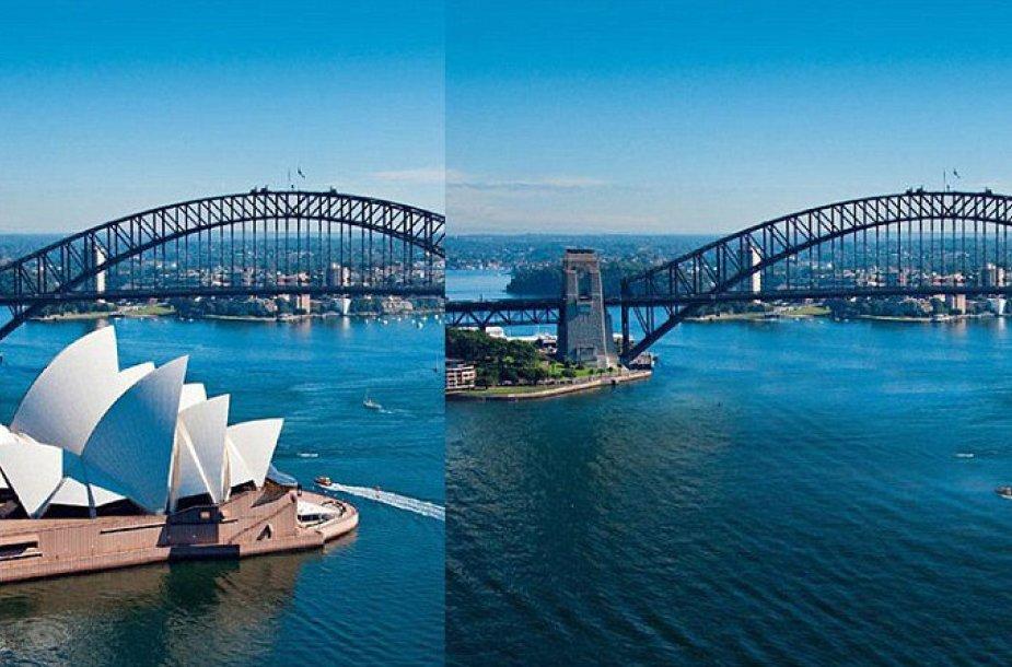 Sidnėjus su ir be išskirtinio operos pastato