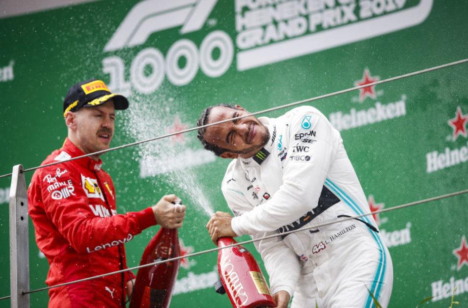 S.Vettelis ir L.Hamiltonas Kinijos GP