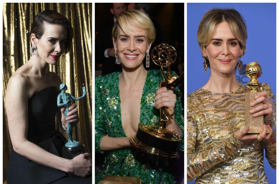 """Sarah Paulson triumfavo Aktorių gildijos, """"Emmy"""", """"Auksinių gaublių"""" ir kituose apdovanojimuose"""