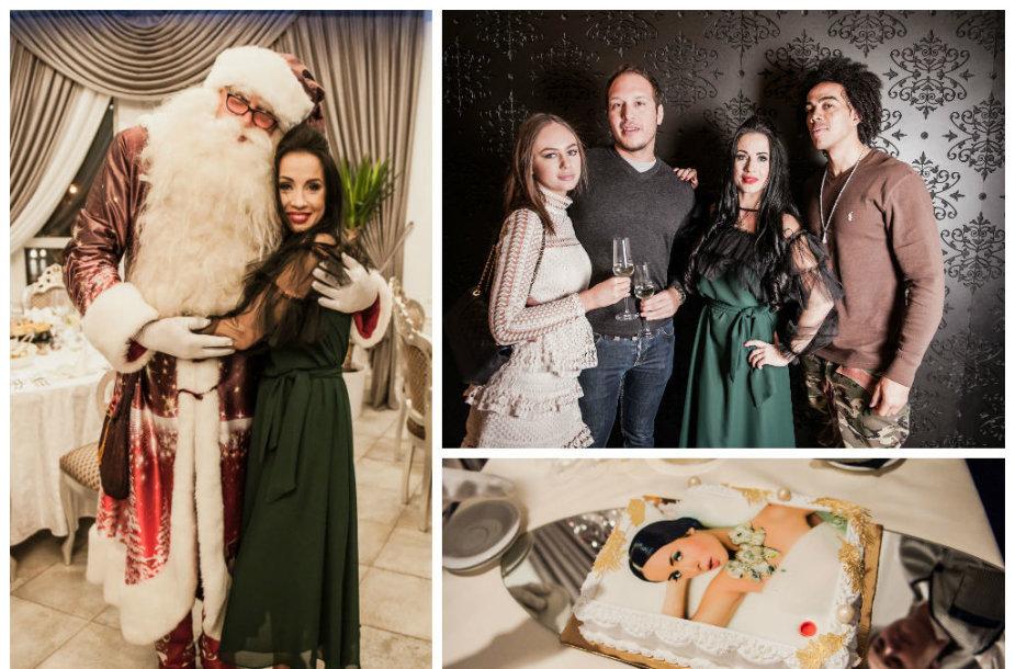 Ingridos Kazlauskaitės gimtadienyje - Kalėdų Senelis, Aaronas Perezas su drauge Urte, Mattas Grace'as