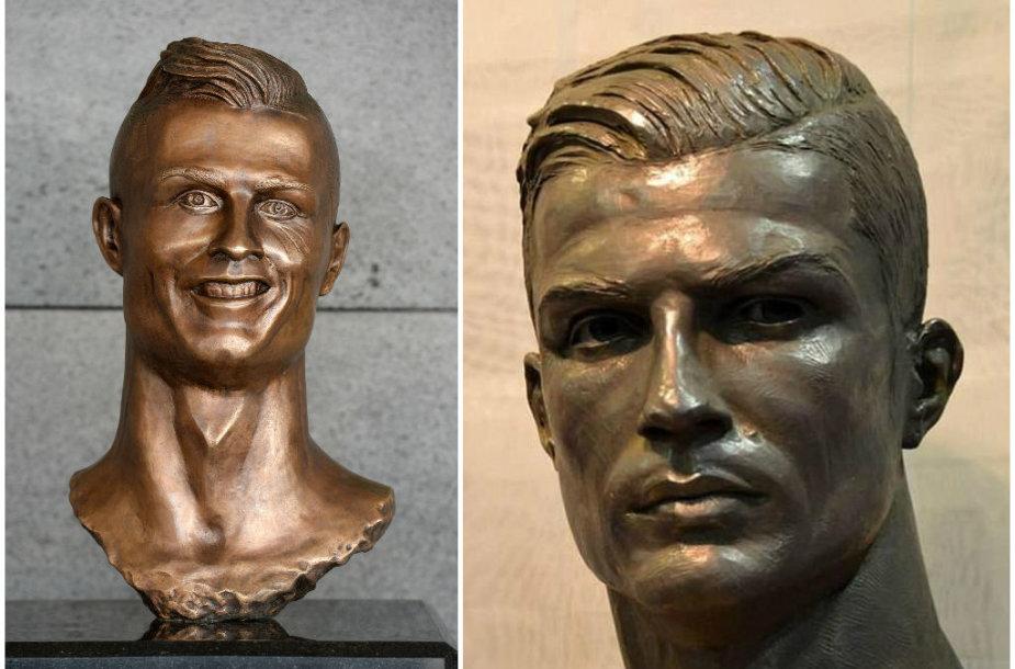 """Cristiano Ronaldo skulptūra Madeiros oro uoste (kairėje) ir Madrido """"Real"""" muziejuje (dešinėje)"""