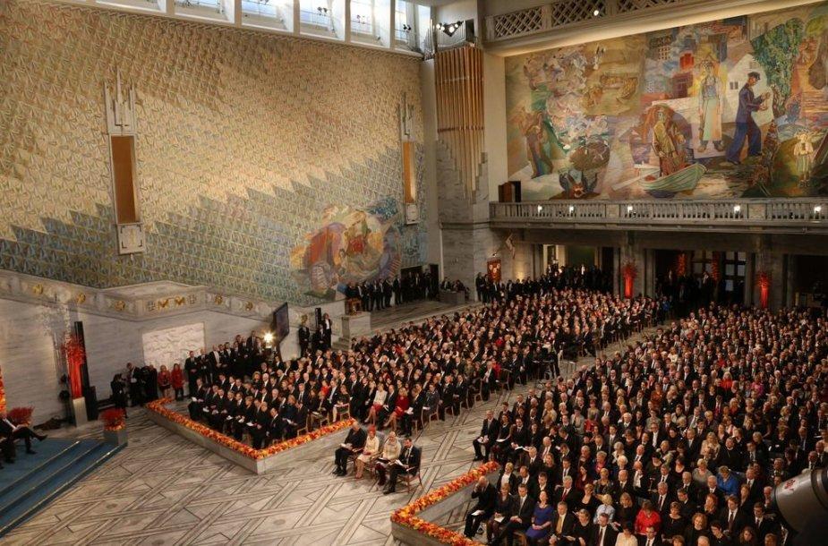 Nobelio premijų teikimo ceremonijos akimirka