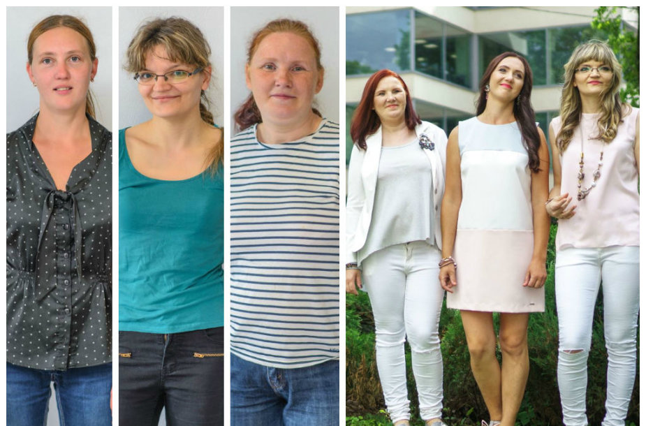 Grožio pasikeitimų dalyvės Rasa Mitrulevičienė, Zita Valavičienė ir Ramutė Selevienė – prieš ir po pokyčių