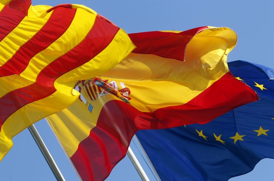 Katalonijos, Ispanijos ir ES vėliavos