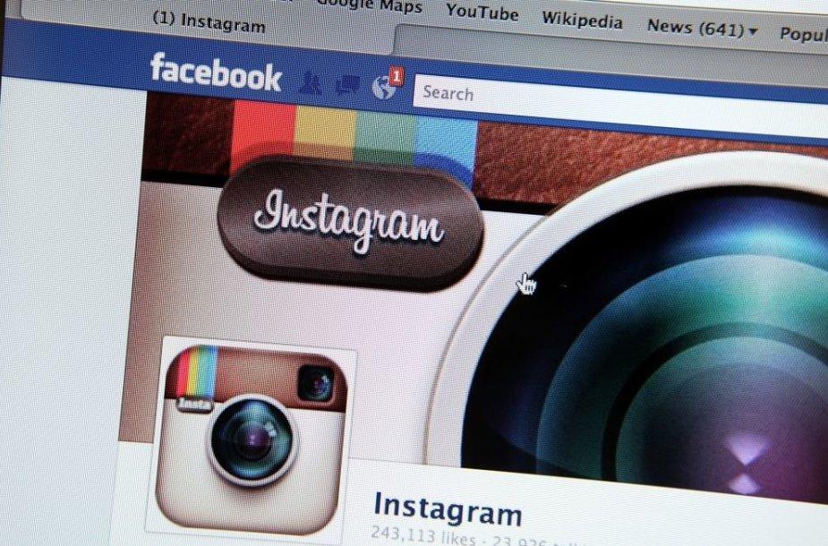 """""""Facebook"""" nusipirko populiarią nuotraukų dalinimosi aplikaciją """"Instagram""""."""