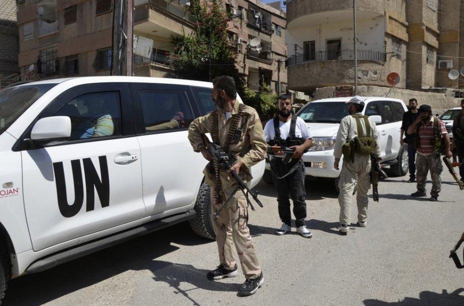 Jungtinių Tautų automobiliai Sirijoje