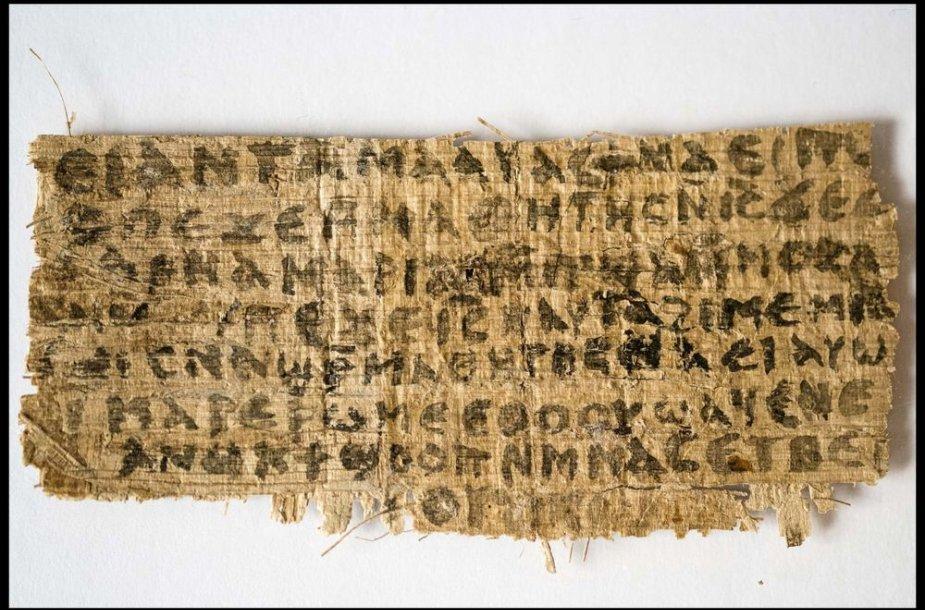 Papiruso fragmentas, kuriame, anot Harvardo profesorės, teigiama, kad Jėzus turėjo žmoną