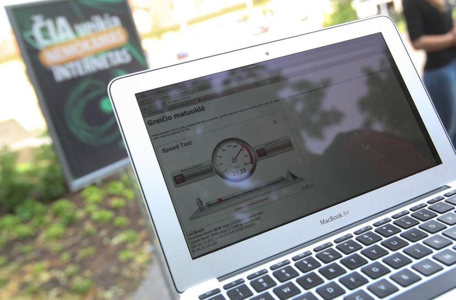 K.Sirvydo skvere pademonstruota galimybė naudotis nemokamu belaidžiu internetu.