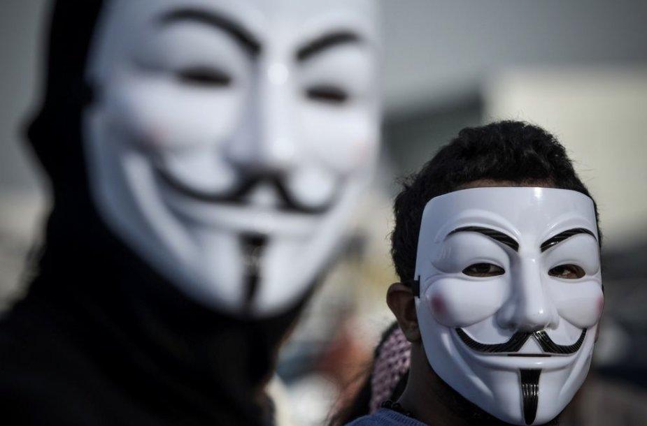 """""""Anonymous"""" grupuotės simbolis - Gajaus Fokso kaukė"""