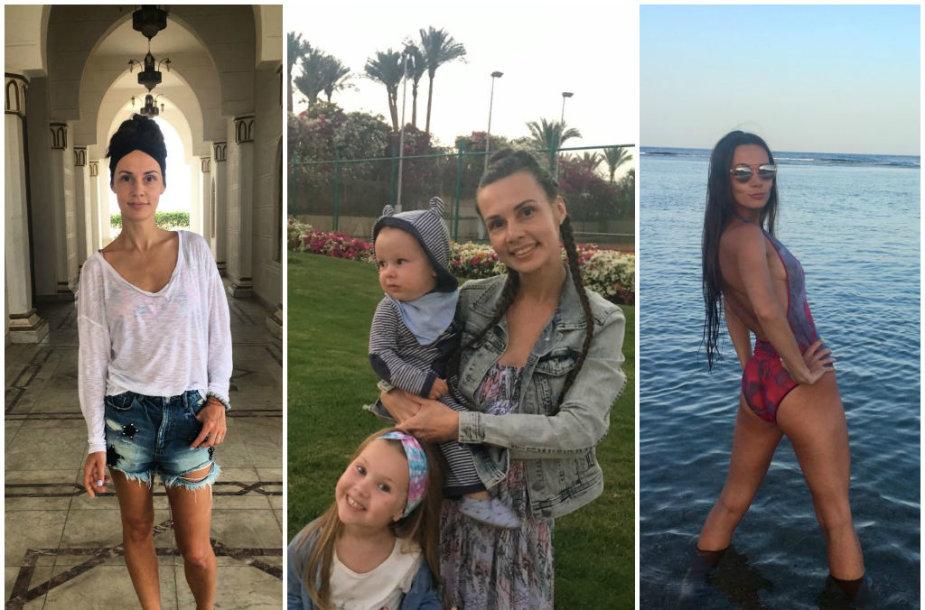 Veronika Montvydienė su dukra Adele ir sūnumi Kajumi