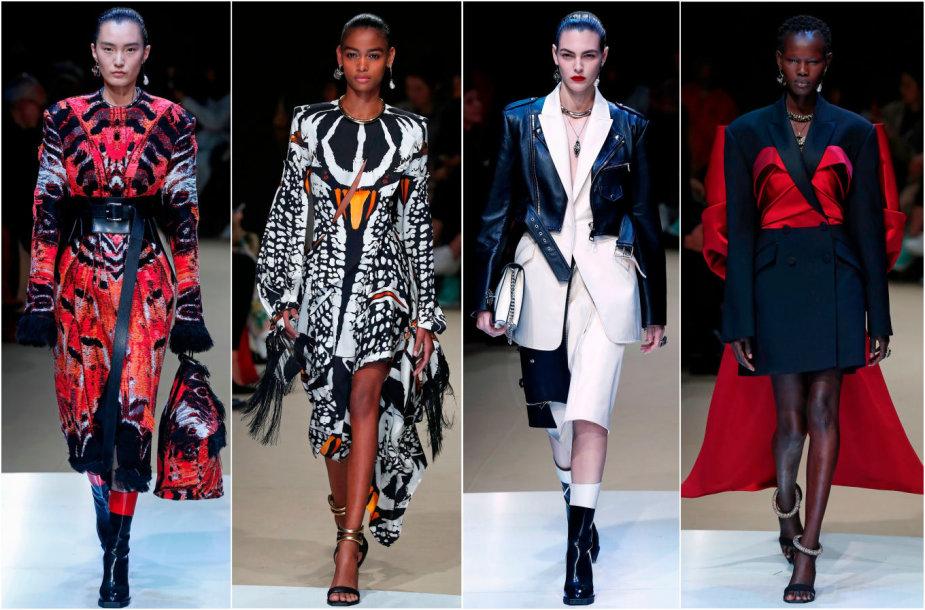 """""""Alexander McQueen"""" 2018–2019 m. rudens ir žiemos kolekcijos modeliai"""