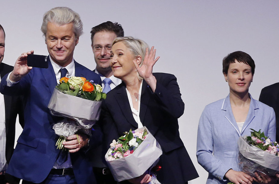 Europos populistai (iš kairės): Geertas Wildersas, Marine Le Pen ir Frauke Petry