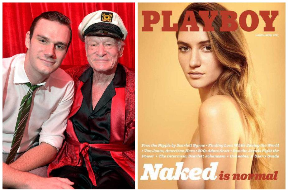 """Hugh Hefneris su sūnumi Cooperiu Hefneriu bei naujasis """"Playboy"""" viršelis"""