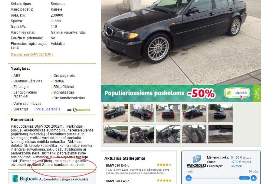 """BMW """"pardavėjo"""" skelbimas"""