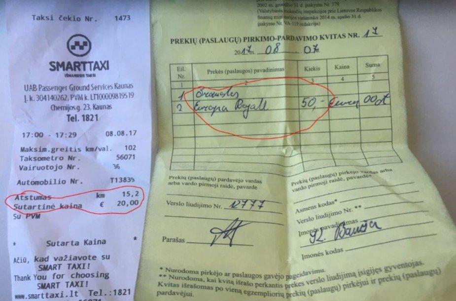 Čekiai, įrodantys, kiek švedui kainavo taksi paslaugos Kaune