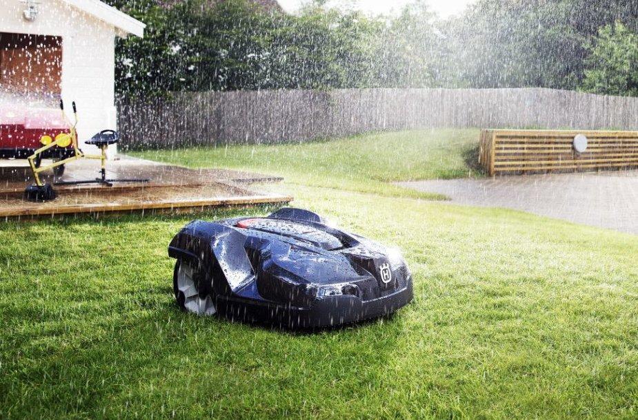 Robotas vejapjovė gali dirbti ir dieną, ir naktį, lyjant lietui ir kepinant saulei