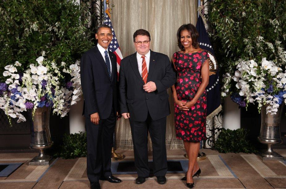 Barackas Obama, Linas Linkevičius ir Michelle Obama