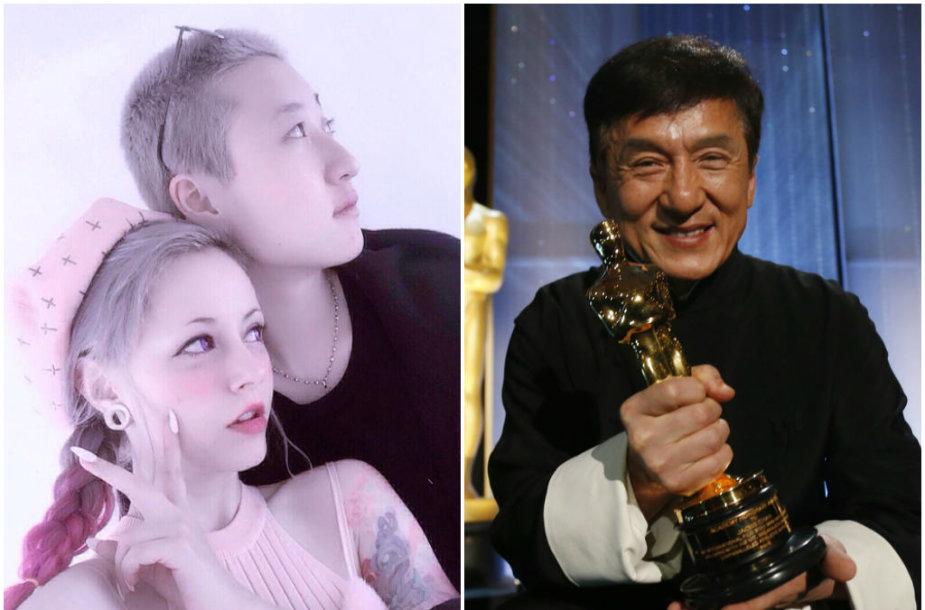 Jackie Chanas ir jo dukra Etta Ng su savo mylimąja Andi Autumn