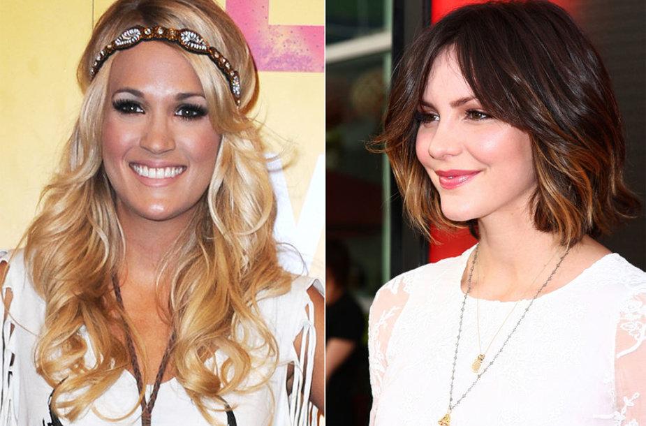 Iš kairės: aktorės Carrie Underwood ir Katharine McPhee.