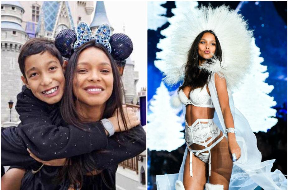"""""""Victoria's Secret"""" angelas Lais Ribeiro su sūnumi Alexandre"""