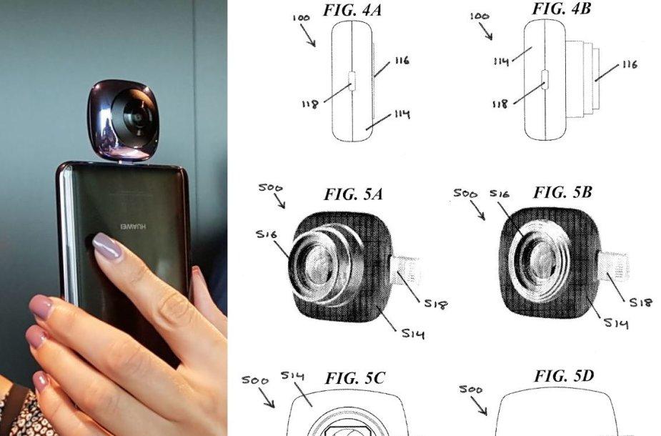"""""""Huawei"""" kamera """"EnVizion 360"""" ir patentinės paraiškos eskizas"""