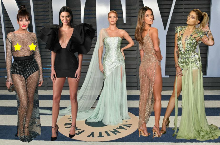 """Oskarų"" dūzgių viešnios (iš kairės): Bleona Qereti, Kendall Jenner, Rosie Huntington-Whiteley, Alesandra Ambrosio ir Paris Jackson"