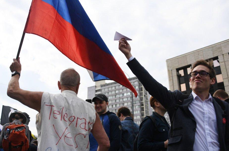 Maskvoje į protestą už interneto laisvę susirinko tūkstančiai žmonių
