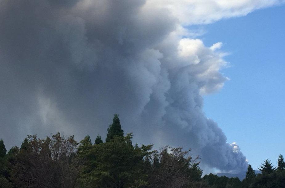 Iš Šinmoedakės ugnikalnio besiveržiantys dūmai