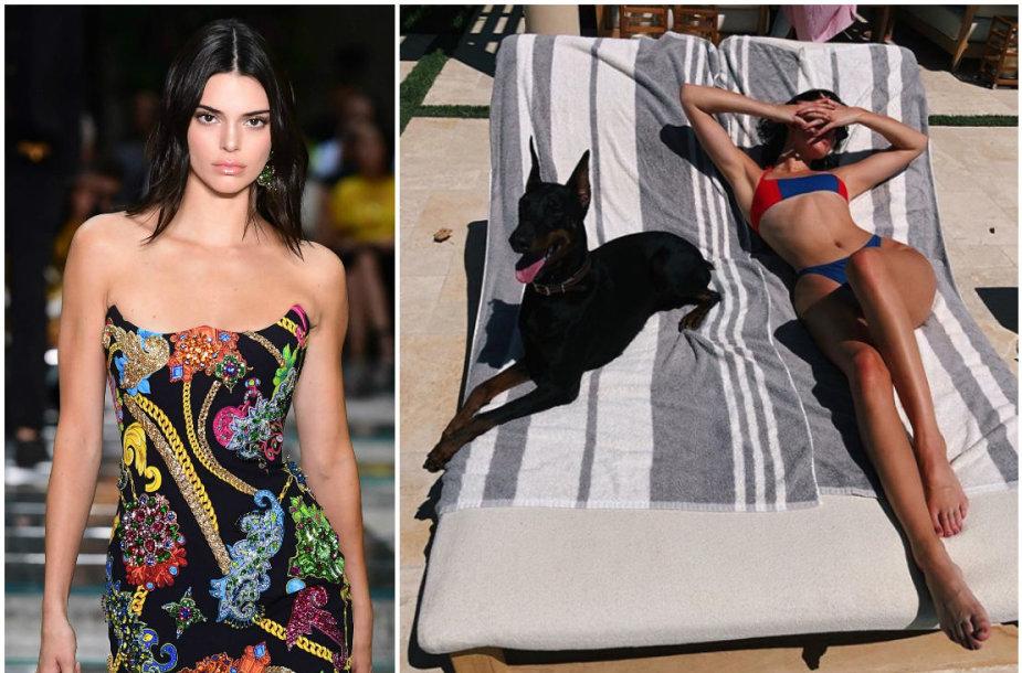 Kendall Jenner su savo šunimi