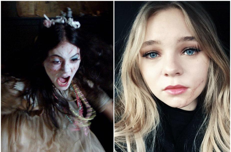 """Siaubo filmas """"Vaiduoklių žemė"""" ir jame veidą susipjausčiusi aktorė Taylor Hickson"""