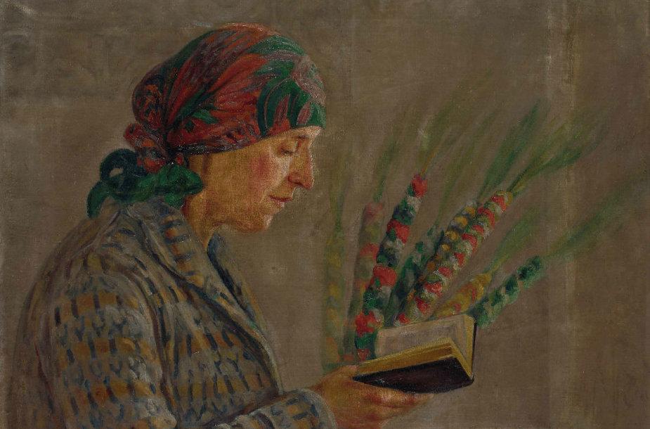 Eugenia Sienkiewicz-Przyałgowska (1891–1966). Moteris su verbomis. Fragmentas. Drobė, aliejus.