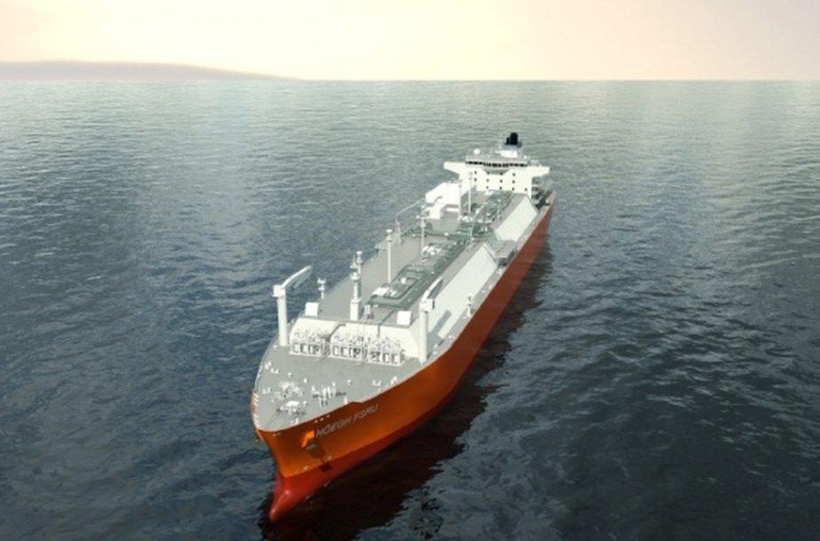 Laivas-saugykla su dujinimo įrenginiu